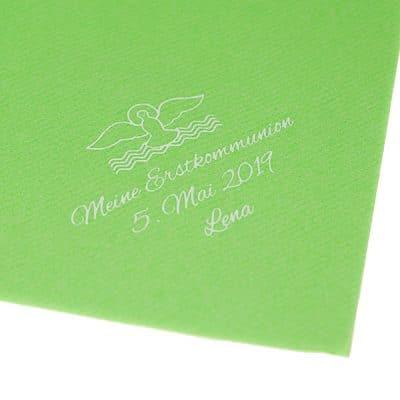 Airlaid Apfelgrün bedruckt zur Kommunion