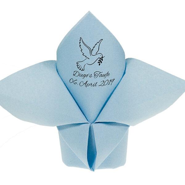 Servietten Airlaid Hellblau perönlich zur Taufe bedruckt und als Lilie gefaltet
