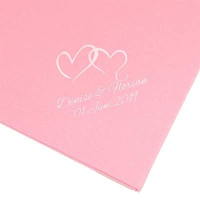 Airlaid rosa bedruckt zur Hochzeit