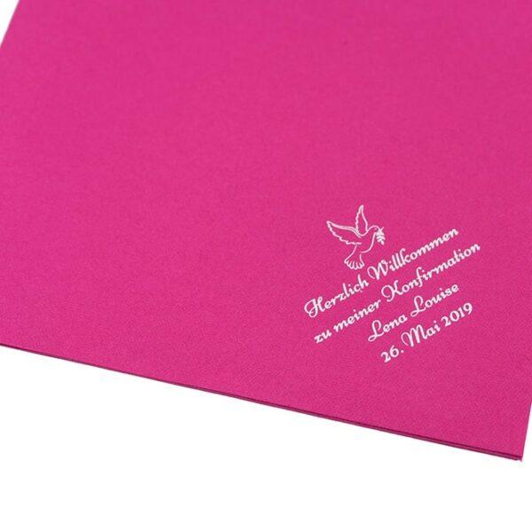 Dunilin Servietten Fuchsia bedruckt zur Konfirmation