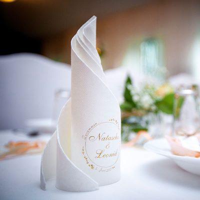 Airlaid Dinner weiss bedruckt zur Hochzeit