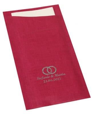 Persönlich bedruckte Bestecktasche Duni Sacchetto Fuchsia