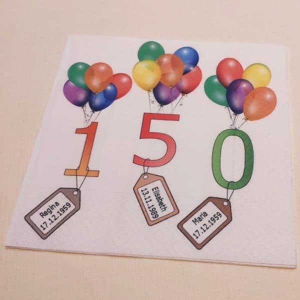 Servietten Digitaldruck bedruckt zum Geburtstag
