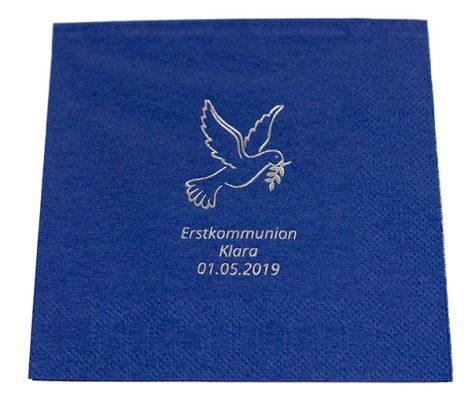 Duni dunkelblau bedruckt zur Erstkommunion mit einer Taube, Namen und Datum