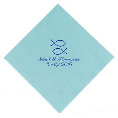 Servietten Duni Mint blue bedruckt zur Kommunion