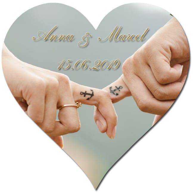 Bierdeckel in Herzform bedrucken, ideal für eine Hochzeit