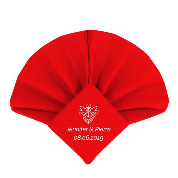 Dunilin Rot bedruckt für Hochzeit und gefaltet als Fächerpitz
