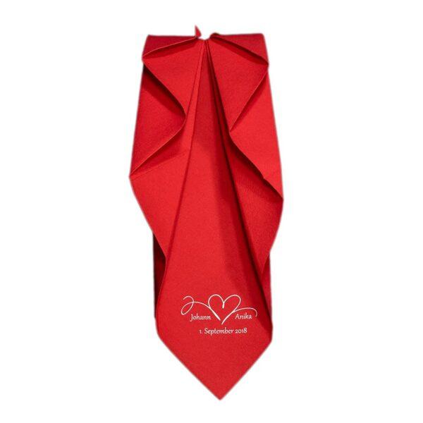 Dunilin Rot bedruckt für Hochzeit und gefaltet als Blatt