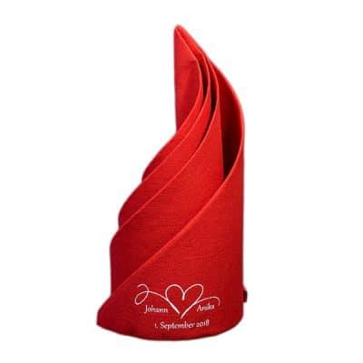 Dunilin Rot bedruckt für Hochzeit und gefaltet als Schraube