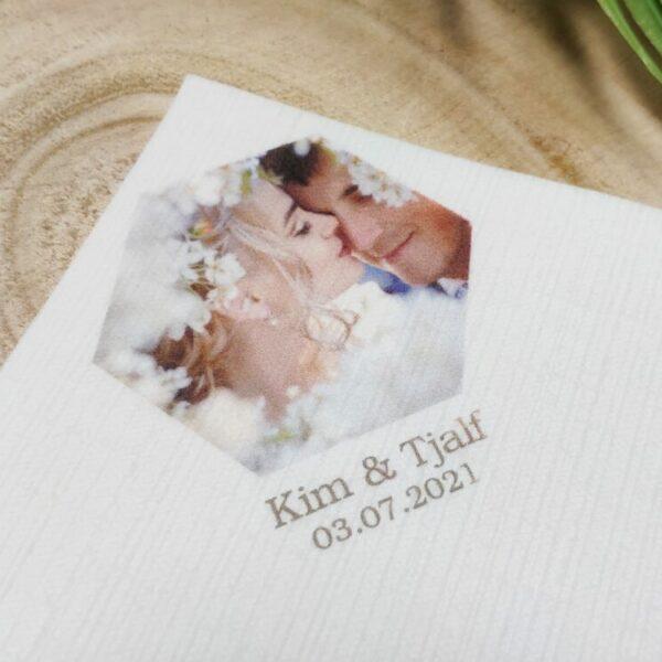 Hochzeitsdeko Servietten Dinilin bedruckt im Digitaldruck