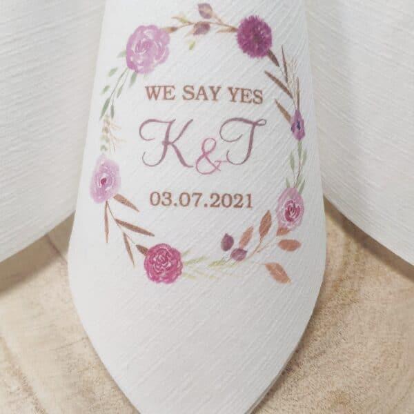 Servietten Dunilin im Digitaldruck bedruckt mit Hochzeitsmotiv